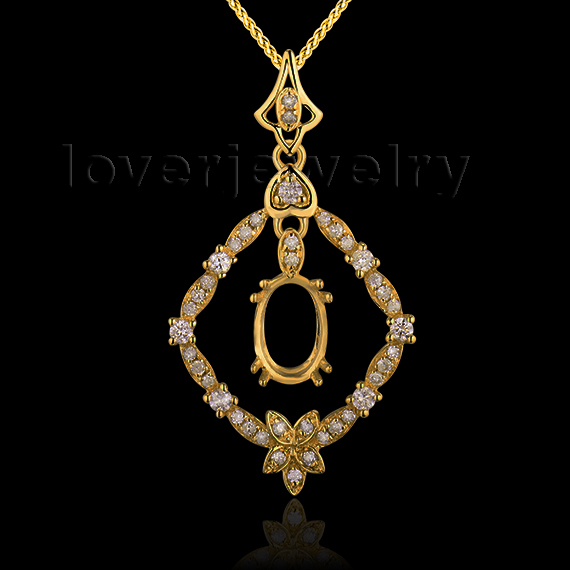 Newest Style Oval 5x7mm Solid 18kt Yellow Gold Diamond Semi Mount Wedding Pendant WP048
