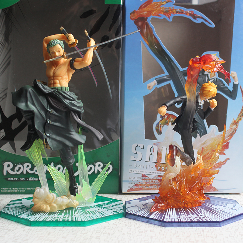 Anime One Piece Figurine Roronoa Zoro & Sanji Battle ver. Figure Model Toys Gift for Boys brand new portrait of pirates one piece roronoa zoro 23cm pvc cool cartoon action figure model toy for gift kids free shipping