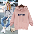 2016 Winter Autumn Loose Hooded Jacket Thick Long Sleeve Letter Sweatshirt Korean Style Plus Size Warm Hoodies Blusas Pink Gary