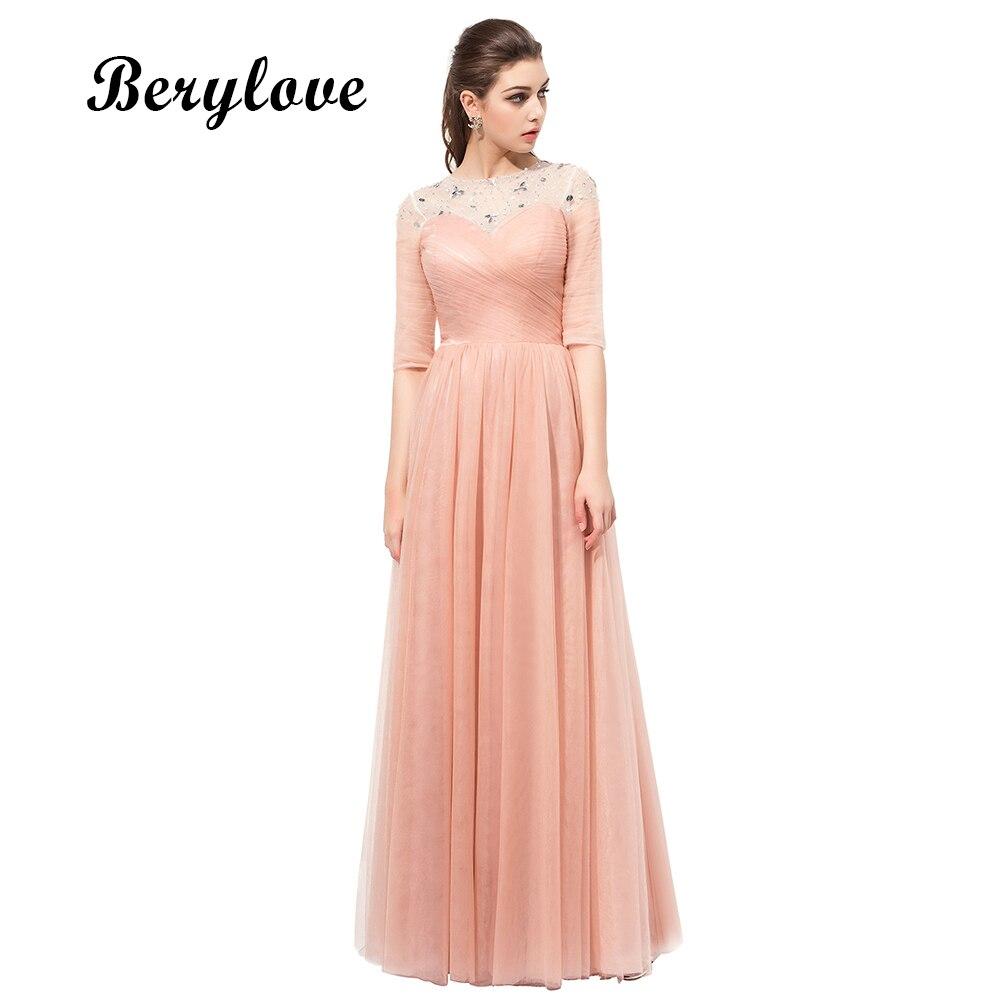 BeryLove Elegant Blush Roze Prom Dresses Lange Kralen Tule - Jurken voor bijzondere gelegenheden
