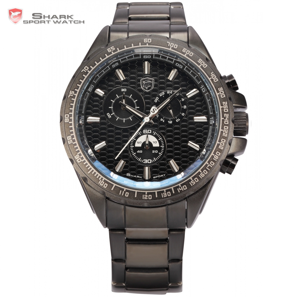 Steel Frilled Shark Sport Watch 6 Hands Black Bezel Stopwatch 24 Hours Stainless Band Quartz Mens Military Wrist Watches / SH188 blacktip shark sport watch cool black 6 hands dashboard 24hr date day mens outdoor quartz stainless steel band wristwatch sh397