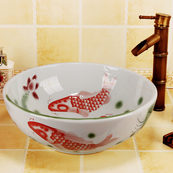 china hand painted fish high quanlity art bathroom basin for home and restaurant