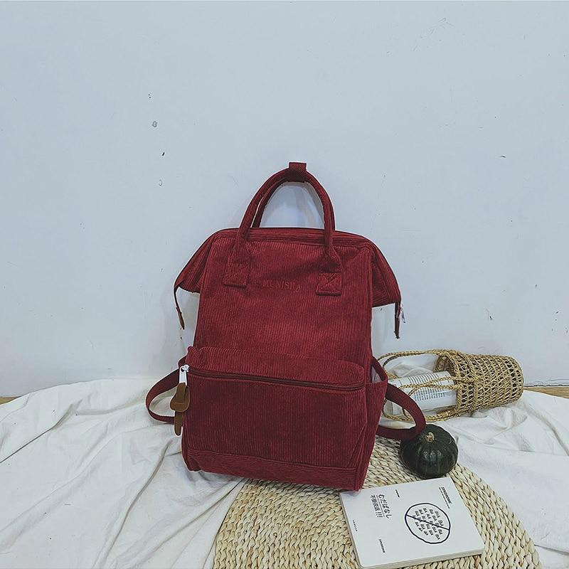 HTB19WpeaEzrK1RjSspmq6AOdFXaU Corduroy Backpacks For Women 2019 Fashion Winter Casual Style Ladies Solid Color Back Pack Female Teens Girls School Backpack