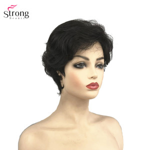 Image 2 - StrongBeauty Synthetic Wig Short Curly Hair Black/White Wigs Womens