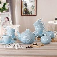 15 pcs Conjuntos de Louça-estilo Japonês Conjuntos de Cerâmica Xícara de Café e Pires Bone China Pote de Café Xícara de Café Alívio pacote
