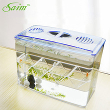 Saim Aquarium Betta Fish Bowl Acrylic Isolation Cylinder Fishes Box Tank Separation Hatching Breeding JJ502