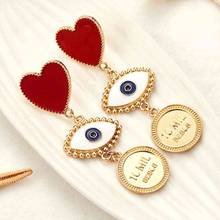 Bohemian Exaggerated Heart Black Eyes Charms Dangle Earrings For Women Jewelry Fashion Punk Statement Accessories