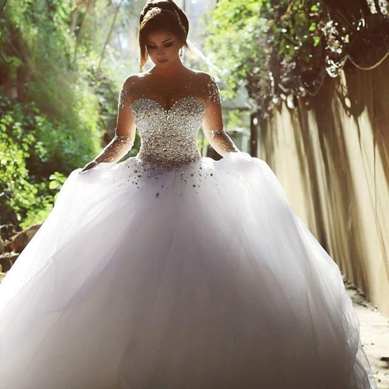 2019 Arabic Vintage Long Sleeve Wedding Dress Beading Crystal Sweetheart Ball Gown Wedding Gown Vestido De Noiva