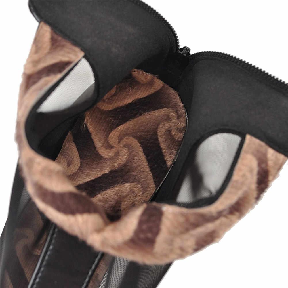 BONJOMARISA Büyük Boy 32-43 Moda İlkbahar Yaz yarım çizmeler Zip Platformu Yüksek Topuklu Ayakkabılar Kadın Rahat Parti Retro Çizmeler