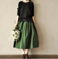Autumn Winter Skirt For Women High Waist Solid Pleated Skirts Elastic Waist Plus Size Casual Long Skirt Linen Vintage Maxi Skirt