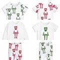 МОДУЛИ новый летний детские лягушка печати топы Хлопка Младенца Футболка мальчик в девочке вершины мультфильм брюки одежды костюм для 18M-7Y