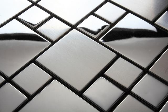 Argento lucido acciaio inossidabile backsplash piastrelle di
