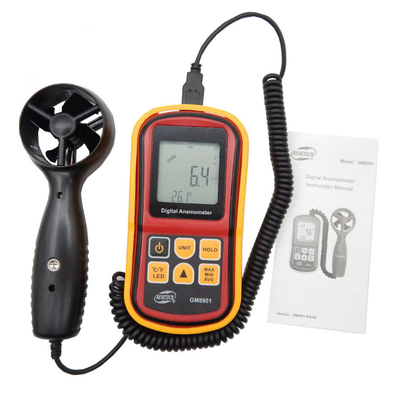 Free Shipping GM8901 45m/s (88MPH) LCD Digital Hand-held Wind Speed Gauge Meter Measure Anemometer Thermometer high quality gm8901 with box 45m s 88mph lcd digital hand held wind speed gauge meter measure anemometer thermometer