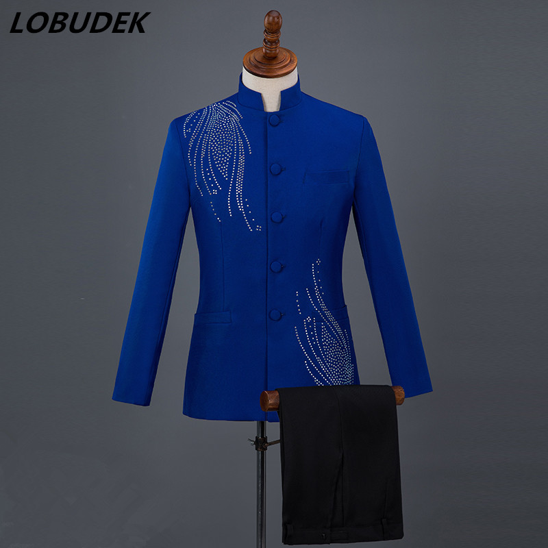 Chinese style Formal Mens Suits Adult Costume Male Singer Chorus Wedding groom dress Host performance stage outfits Blue suit