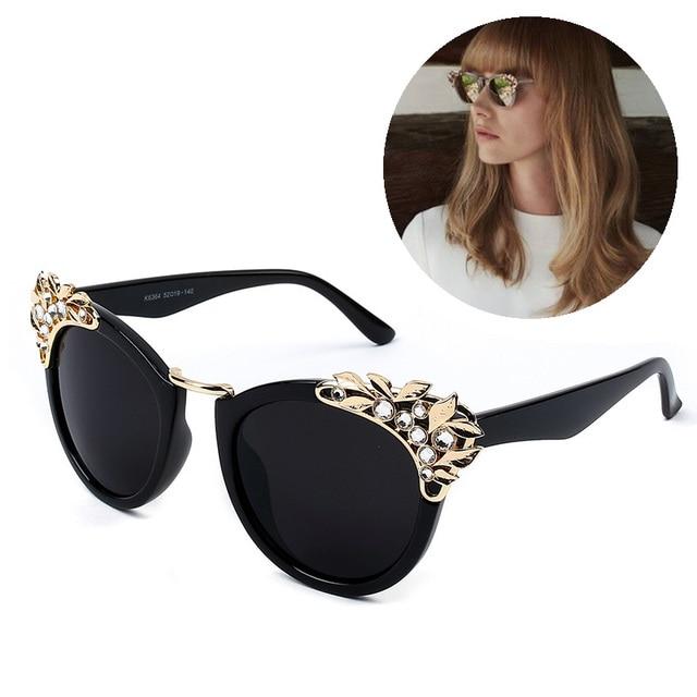 34b5162792 Luxury Fashion Rhinestone Cat Eye Sunglasses Women Designer Transparent  Frame Ladies Reflective Sunglasses gafas de sol
