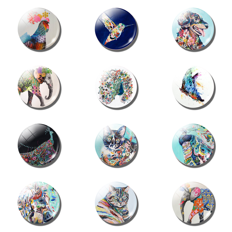 12pcs Cartoon Animal Fridge Magnet Cat Dog 25MM 30MM Glass Dome Magnetic Refrigerator Stickers Note Holder Christmas Accessory in Fridge Magnets from Home Garden