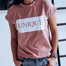 5112c870fd248 Moda Kadın Yaz Üst Kısa Kollu Tee gömlek Femme Zarif Bayanlar Benzersiz  Mektubu Baskı Pamuk tshirt