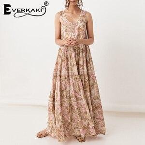 Женское богемное платье без рукавов Everkaki, Длинное свободное платье-майка в стиле бохо, макси-платье на весну 2020
