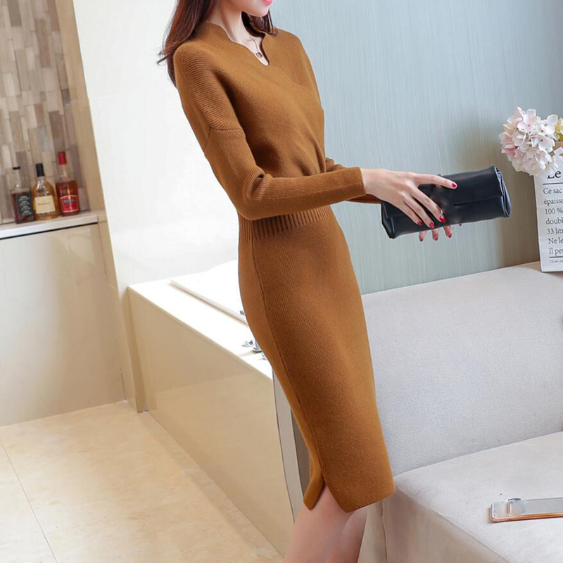2018 Autumn Winter Womens Fashion Sexy Slim Cross V-Neck Sweater Dresses Female Long Sleeve Knitted Warm Thicken Sweater Dress 5