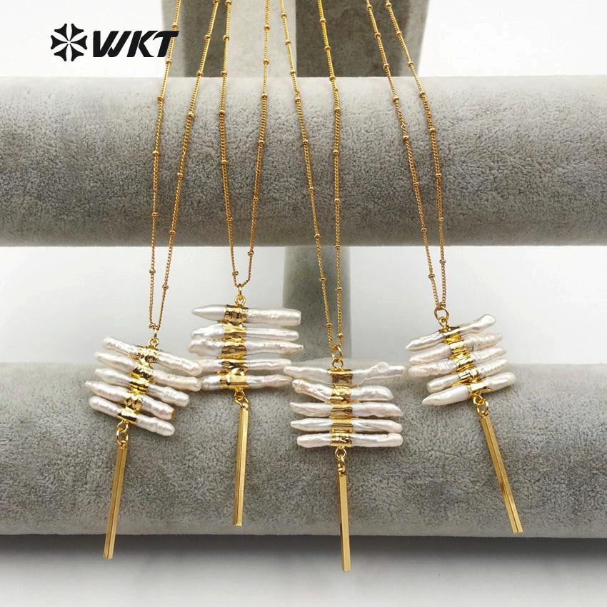 WT N1124 WKT großhandel süßwasser perle halsketten top qualität perle anhänger anti verblassen großhandel gold farbe erklärung schmuck-in Anhänger-Halsketten aus Schmuck und Accessoires bei  Gruppe 1