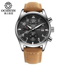 2016 Marque OCHSTIN Mode Sport Casual Montres Hommes chronographe À Quartz Horloge Bracelet En Cuir Militaire Armée Étanche montre-Bracelet