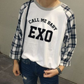 2016 new arrival spring autumn women's exo member name/call me baby printing long sleeve t shirt o neck plaid patchwork t-shirt