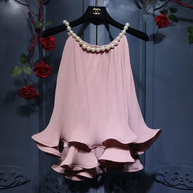a47ad9e2a3f9db 2018 New Summer Women's Hang Neck Pearl Decorative Vest Chiffon Blouse  Sweet Lotus Leaf Hem Loose Doll Shirt Sleeveless Top