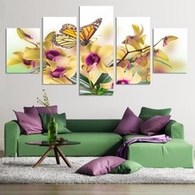 Printed Picture Modular Painting Modern Wall Art 5 Panel Beautiful Butterfly Yellow Flowers Living Room Decor Artwork Canvas