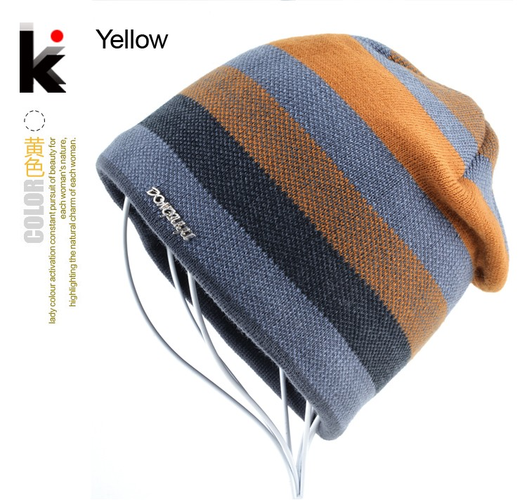 aeProduct.getSubject()  2018 Males's Skullies Hat Bonnet Winter Beanie Knitted Wool Hat Plus Velvet Cap Thicker Stripe Skis Sports activities Beanies Hats for males HTB19WqnMVXXXXcxXpXXq6xXFXXXz