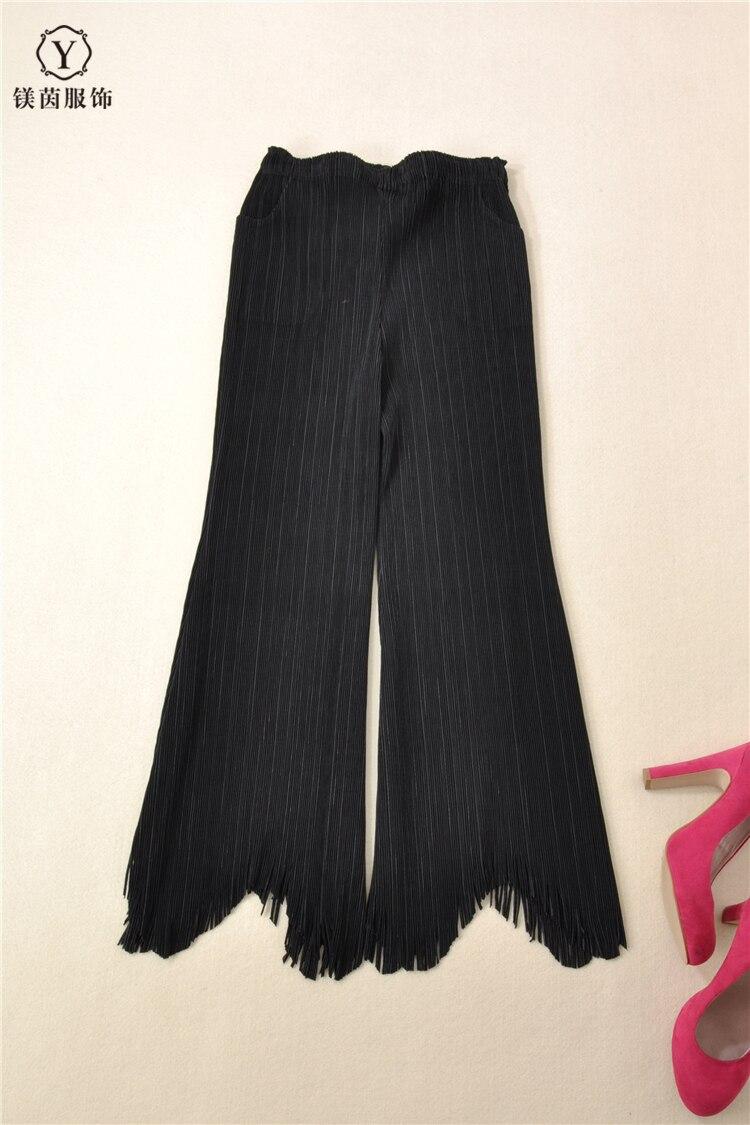 ¡Envío gratis! pantalones Miyake con flecos de moda de color puro y diseño artístico en STOCK - 3