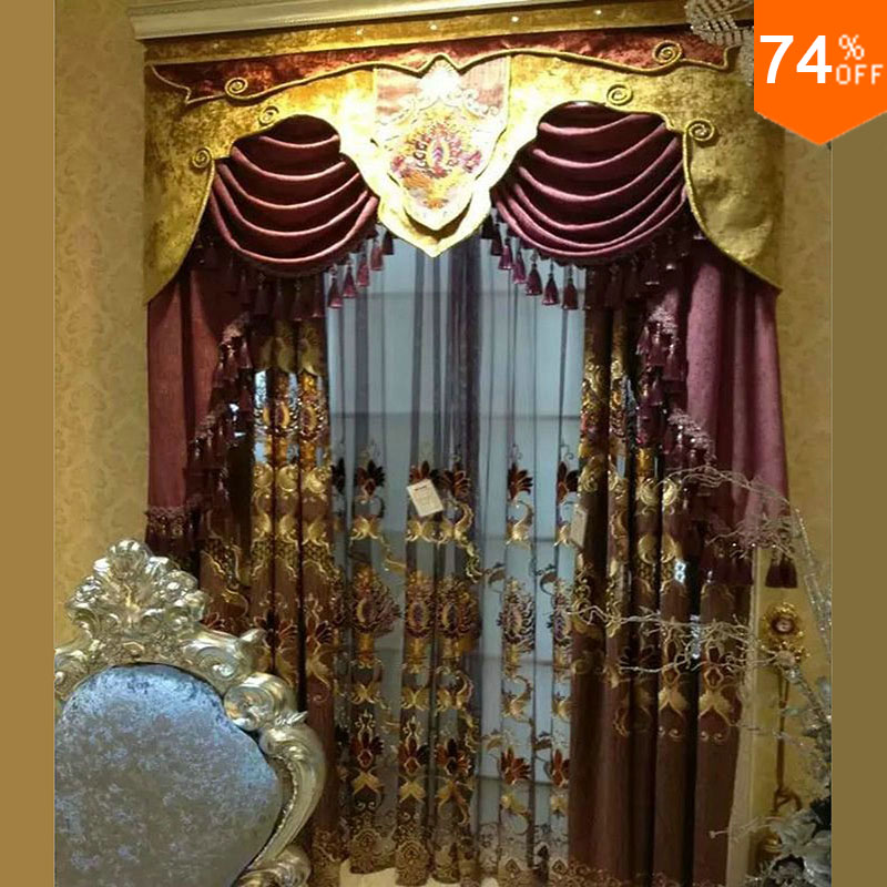 Nice Purple Embroidery Golden flowers curtains dinning Room Curtain Classic lavender kitchen rooms elegant Living Room Curtains