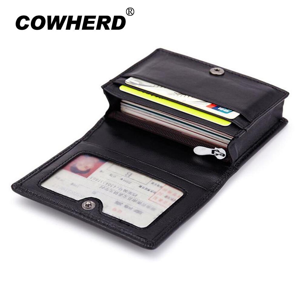 Fashion Men Sheepskin Leather Mini Wallets Women Business Credit