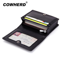 New Woven Pattern Genuine Sheepskin Leather Slim Card Wallet Casual Business Card Travel Wallet ID Card