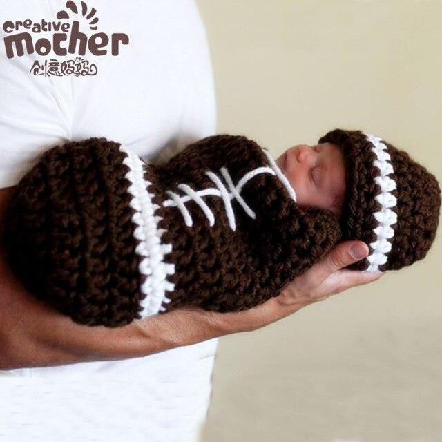 0-6 Months Beown Knitting Gentleman Newborn Baby Boys Photo Prop Costume Knitted Sleeping Bag Handmade Beanies Hat Free Shipping