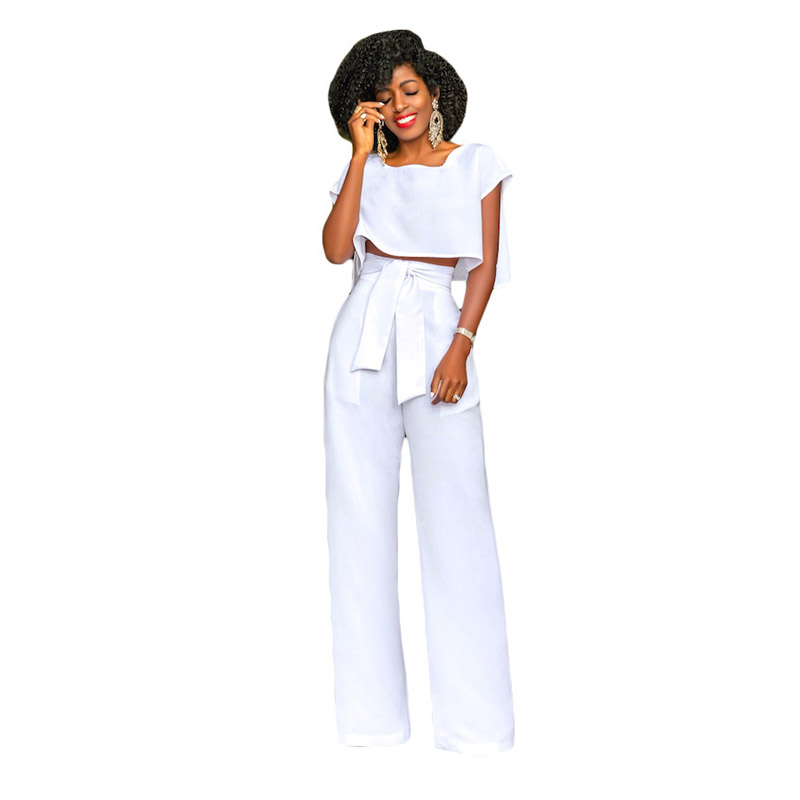 Womens Solid Two Piece Outfits Strapless Ruffled Off Shoulder Crop Tops High Waist Wide Leg Pants Set Plus Size