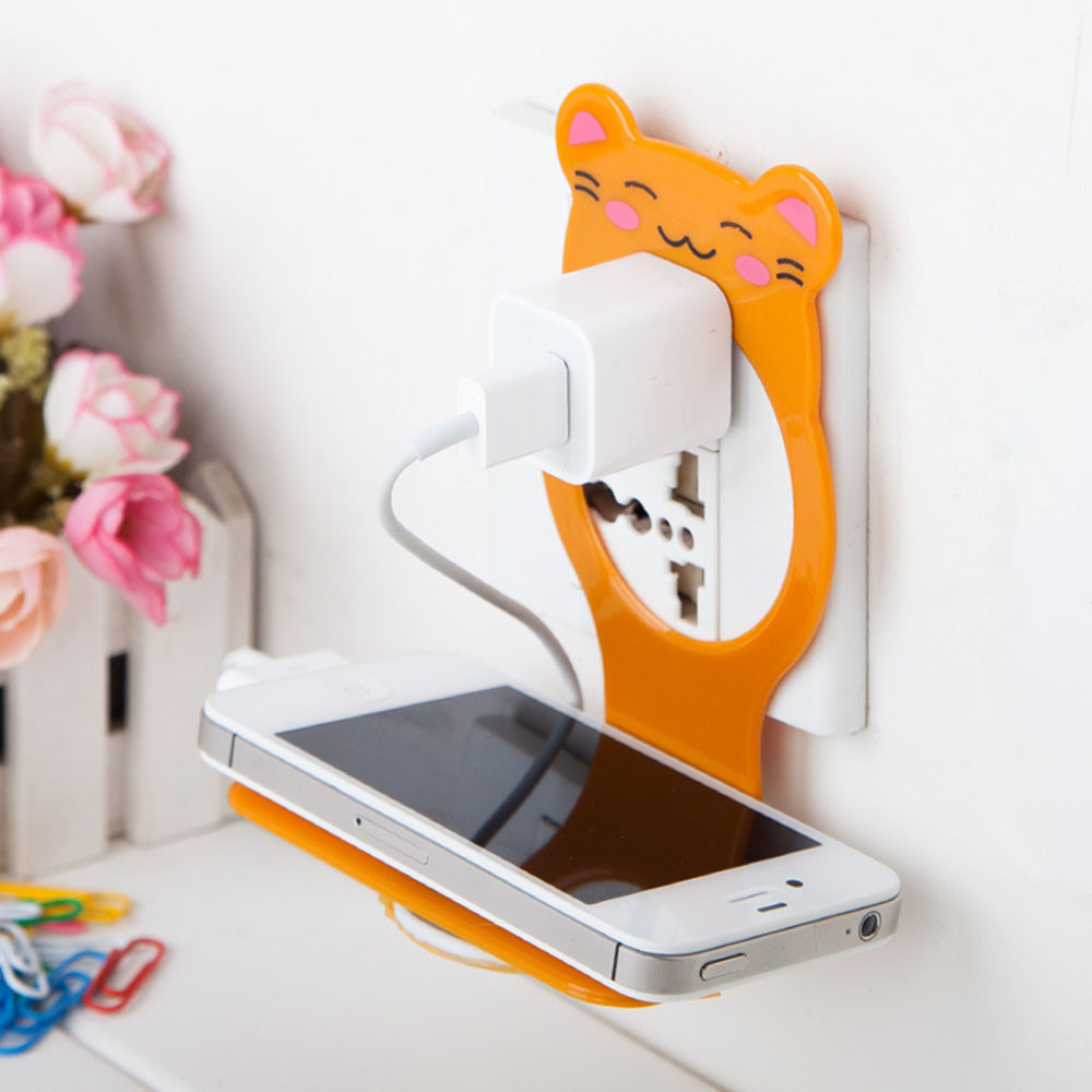 Cuite Wall Phone Holder Mobile Phone Wall Charging Holder Cell Phone Hook Charge Hanging Stand Bracket Support