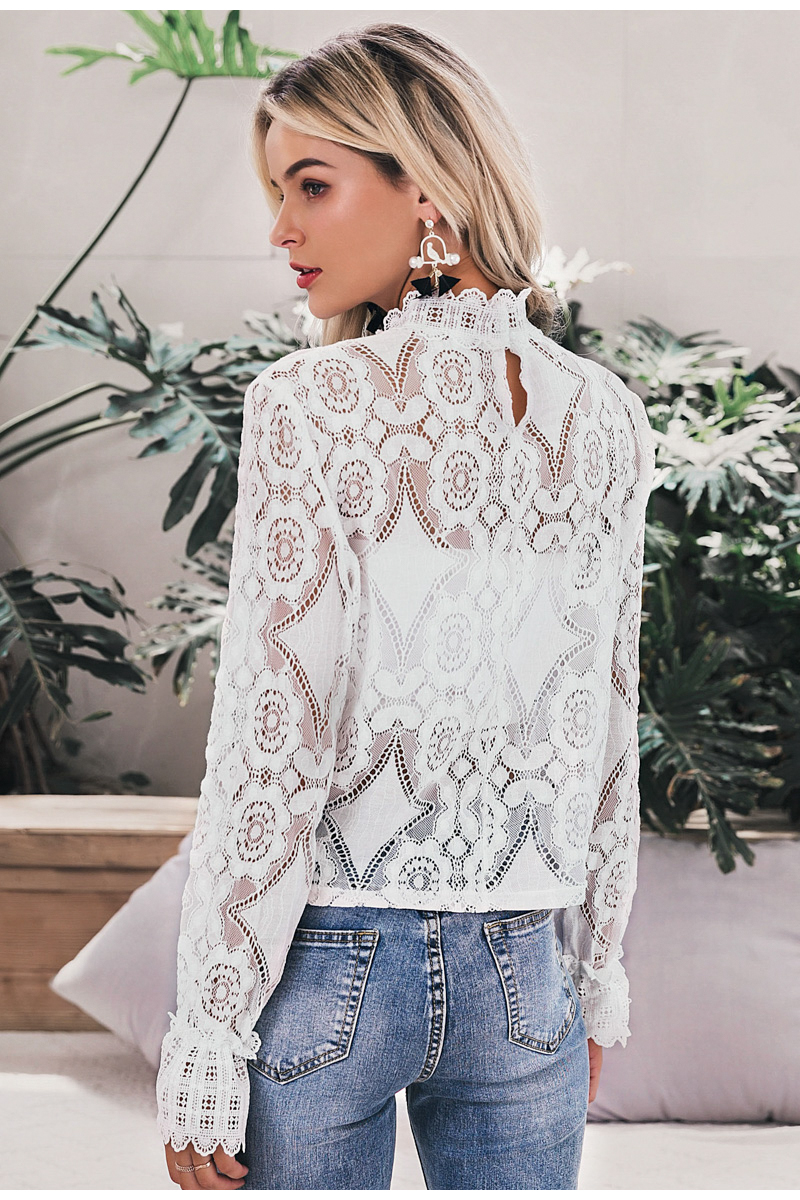Simplee Elegant white lace blouse shirt Sexy hollow out embroidery feminine blouse Women long lantern sleeve summer tops female 11