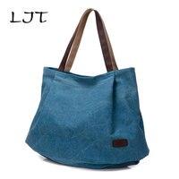 LJT Art Fresh Canvas Bag Women Retro Fashion Shoulder Bag Ladies Casual High Capacity Handbags Students School Bags for Girls