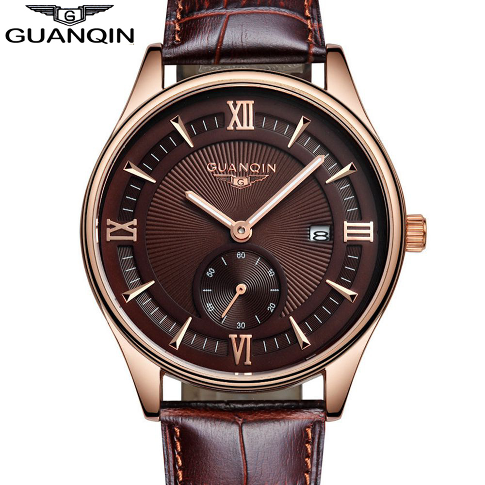 ФОТО GUANQIN Original Brand Mens watches Top Brand Luxury Mens Business Clock Male Quartz Wrist Watch Quartz-Watch Relogio Masculino