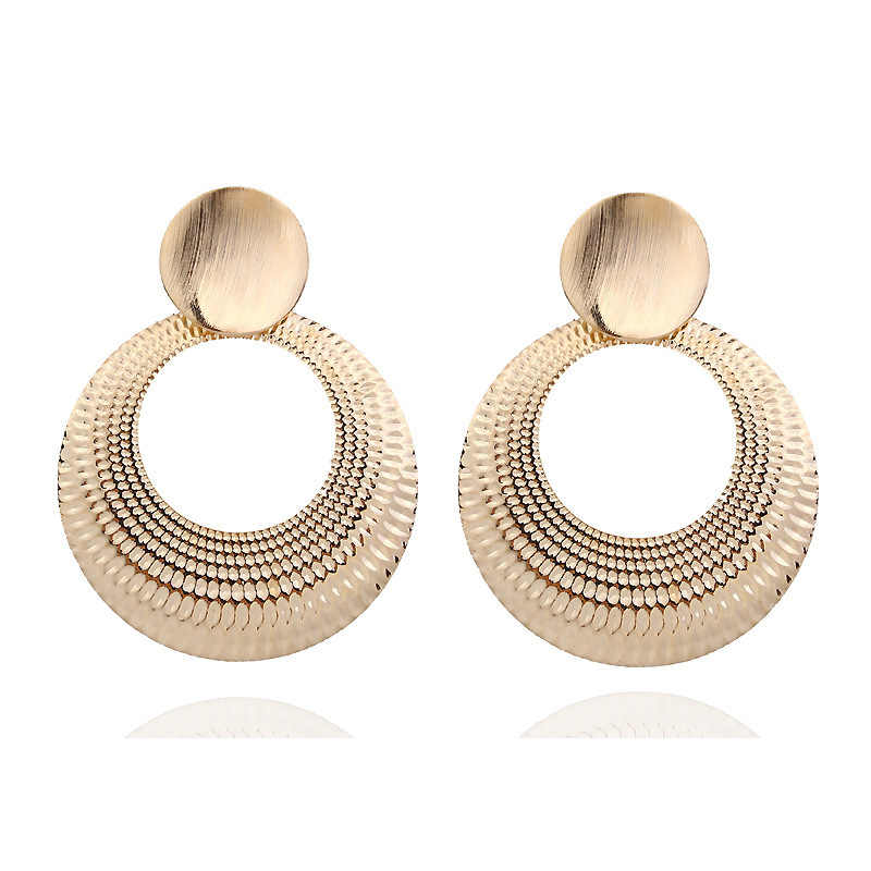 Fashion Jewelry Geometric Metal Big Round Earrings For Women Statement Gold Retro Circle Dangle Drop Earing Oorbellen