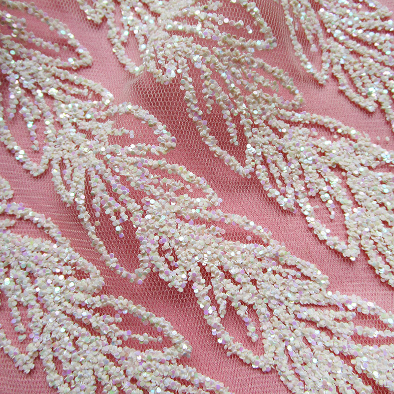 4 Yards New Ivory Glue Sequins Lace Mesh Fabric French Twill Wedding dresses Mesh Fabric India