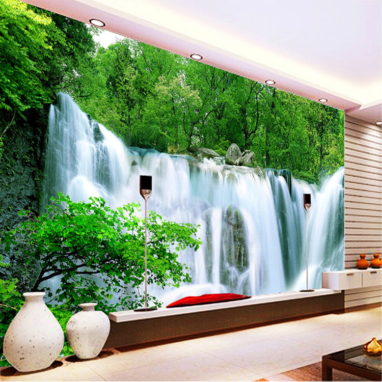 3d waterfall mural garden background living tv landscape chinese forest dining sofa wall custom murals dhgate wallpapers bedroom