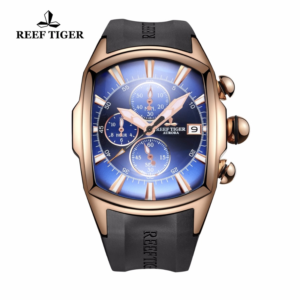 Reef Tiger/RT Top Brand Luxury Sport Watch for Men Professional Stop Watches Waterproof Rose Gold Blue Dial Watches RGA3069 T