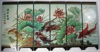 Desk decorative chinese fish and lotus 6 panel folding screen