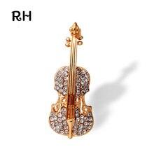 Broches elegantes Ramos de la joyería para las mujeres Chapado En Oro accesorios de Violín de la Música de boda broches para las mujeres y los hombres regalo de la joyería