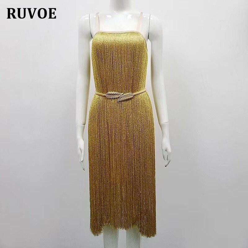 Femme Gland 2017 Partie Bretelles Gaine Moulante Élégant Vintage Robe Spaghetti De Or Sans Lady Hiver Celebrity Manches 4wwEq7xU