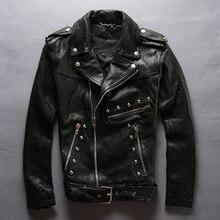 men genuine vegetable leather sheepskin genuine leather design slim short leather jacket oblique zipper rivets nightclubs