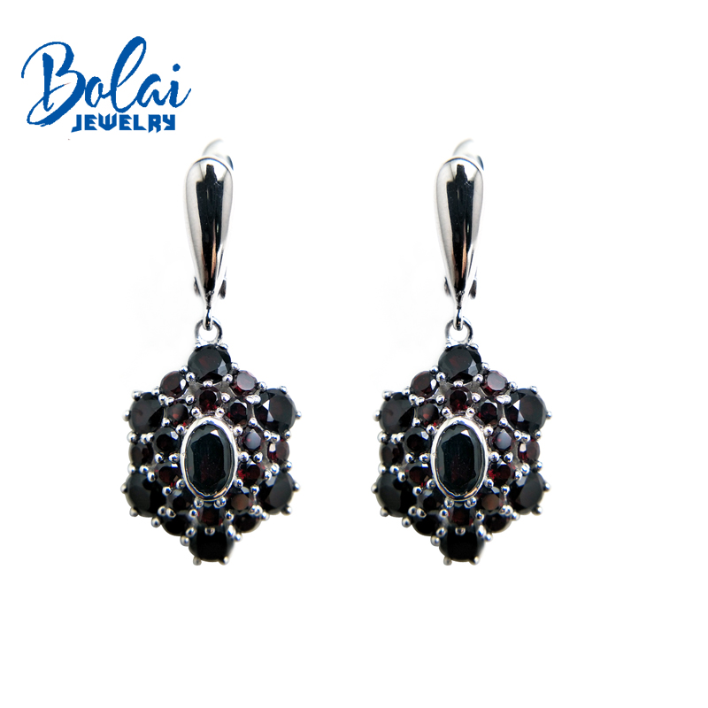 Bolaijewelry Dangle Clasp good looking earring with natural garnet fine jewelry for women party daily wear