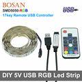 TV Background Lighting DC5V USB LED Strip 5050 RGB 60LEDs/m with 17Key RF Controller 50cm / 1m / 2m Set