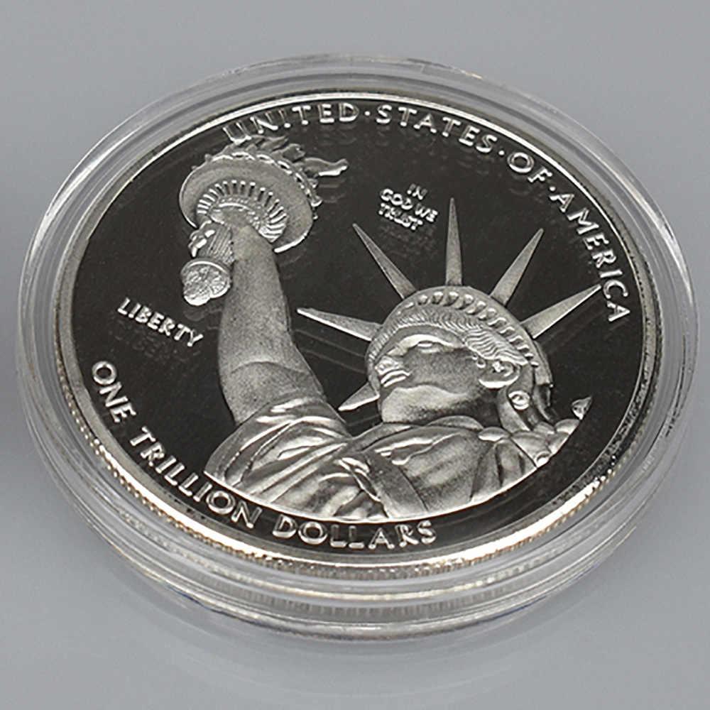1 trilhão de dólares ouro banhado a prata estados unidos coleção moeda de metal